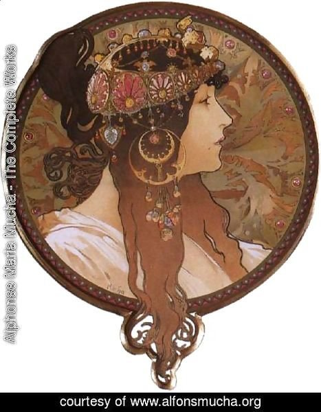 Alphonse Maria Mucha - Byzantine Head: The Brunette. 1897