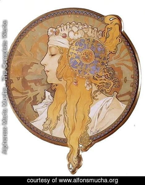 Alphonse Maria Mucha - Byzantine Head: The Blonde. 1897