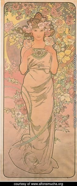 Alphonse Maria Mucha - Rose. From The Flowers Series. 1898