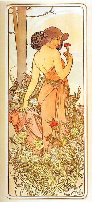 Alphonse Maria Mucha - Carnation. From The Flowers Series. 1898