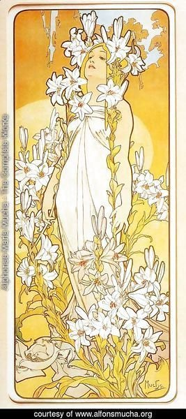 Alphonse Maria Mucha - Lily. From The Flowers Series. 1898