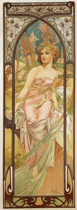 Alphonse Maria Mucha - Morning Awakening. From The Times of the Day Series. 1899