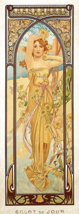 Alphonse Maria Mucha - Brightness of Day. From The Times of the Day Series. 1899