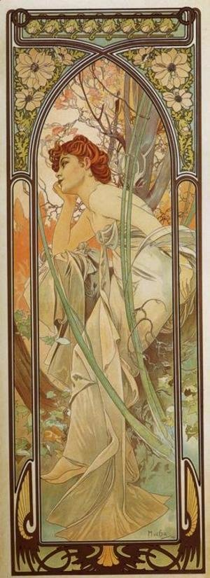 Alphonse Maria Mucha - Evening Contemplation. From The Times of the Day Series. 1899