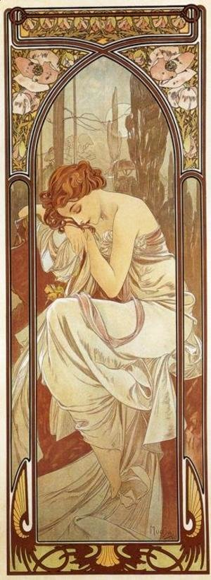 Alphonse Maria Mucha - Night's Rest. From The Times of the Day Series. 1899