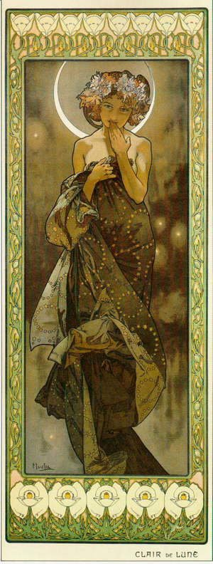 Alphonse Maria Mucha - The Moon. From The Moon and the Stars Series. 1902