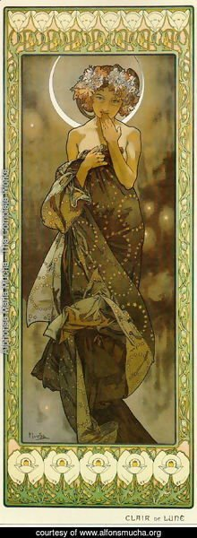 Alphonse Maria Mucha - Evening Star. From The Moon and the Stars Series. 1902