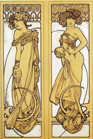 Alphonse Maria Mucha - Two Standing Women. Design for Documents décoratifs. Plate 45. 1902
