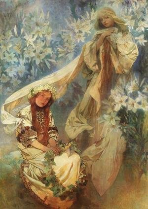 Alphonse Maria Mucha - Madonna of the Lilies, 1905