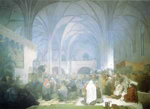 Alphonse Maria Mucha - Master Jan Hus Preaching at the Bethlehem Chapel. 1916