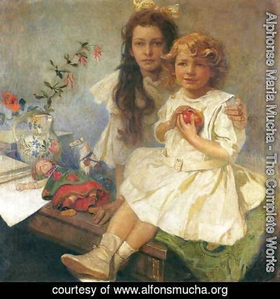 Alphonse Maria Mucha - Jaroslava and Jiri - The Artist's Children. 1919
