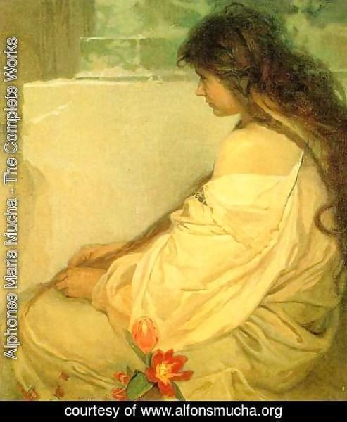 Alphonse Maria Mucha - Girl with Loose Hair and Tulips. 1920