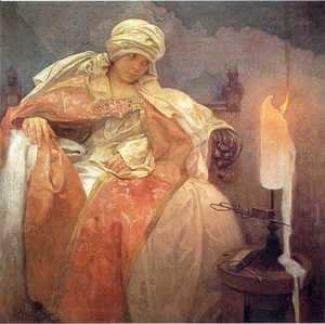 Alphonse Maria Mucha - Woman with a Burning Candle, 1933