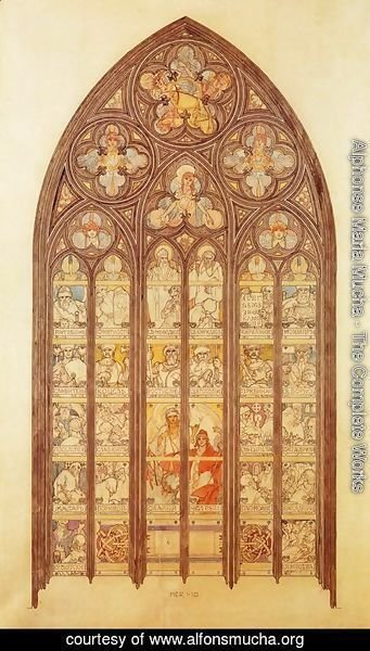 Alphonse Maria Mucha - Design for a stained-glass window in St. Vitus Cathedral, 1931