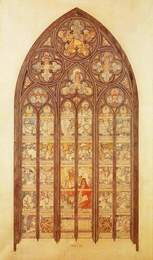 Design for a stained-glass window in St. Vitus Cathedral, 1931