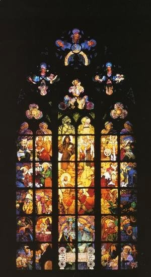 Stained-Glass Window in St. Vitus Cathedral