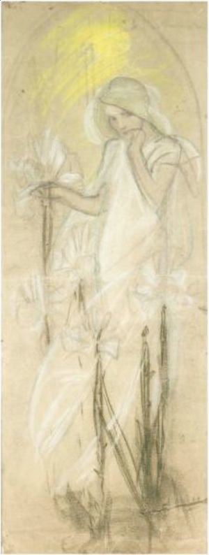 Alphonse Maria Mucha - Study For 'Lily' From The Cycle 'The Flowers'