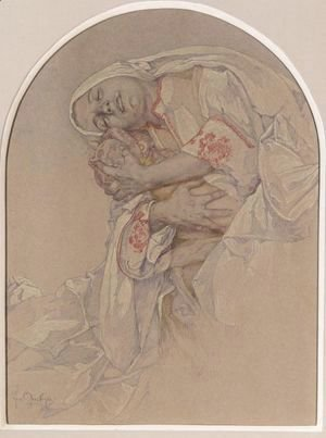Alphonse Maria Mucha - Mother Caressing Her Child