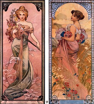 Alphonse Maria Mucha - The seasons (Spring, Summer)