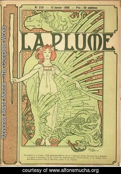 Alphonse Maria Mucha - Cover composed by Mucha for the french literary and artistic Review La Plume