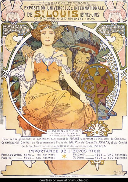 Art nouveau color lithograph poster showing a seated woman clasping the hand of a Native American