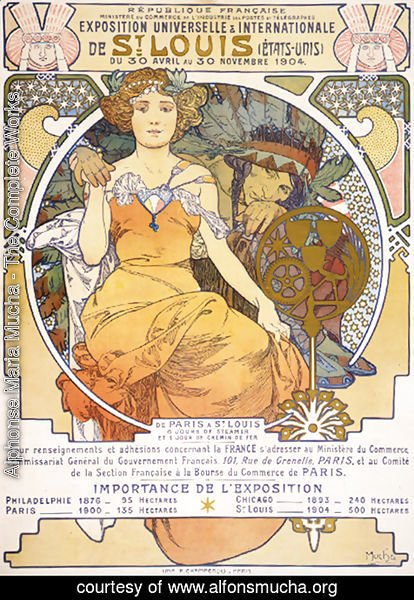Alphonse Maria Mucha - Art nouveau color lithograph poster showing a seated woman clasping the hand of a Native American