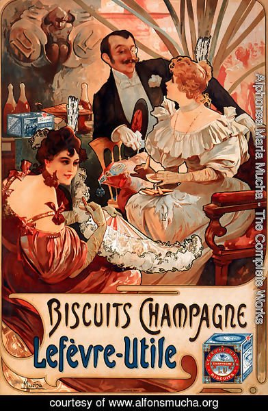 Alphonse Maria Mucha - Biscuits Champagne Lefevre Utile