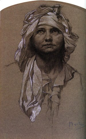 Alphonse Maria Mucha - Head Of A Girl