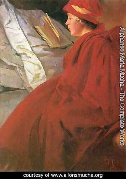 Alphonse Maria Mucha - The Red Cape