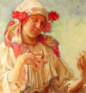 Alphonse Maria Mucha - Young Girl In A Moravian Costume